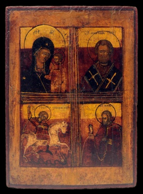 2045n:Four-part icon : Mother of God of Kazan, St Nicholas the Miracle - worker...