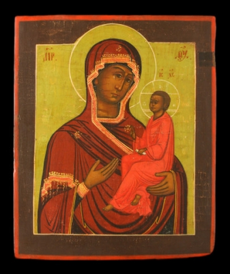 2994n: Mother of God of Tikhvin on the green background. Sold