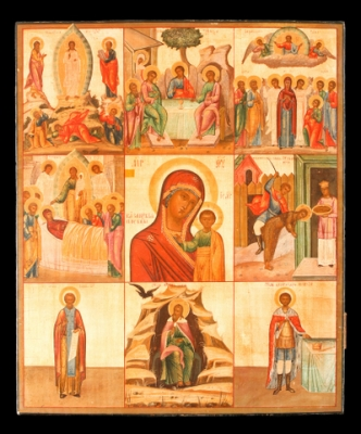 3063n: Mother of God of Kazan with stamps - Vita Icon. Sold