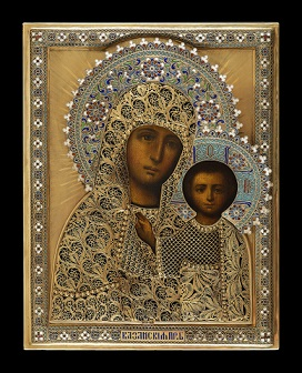 7ww2: Mother of God in silver gilded oklad