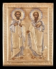 5mx:Icon of Apostles Peter and Paul in a silver gilded oklad..Sold